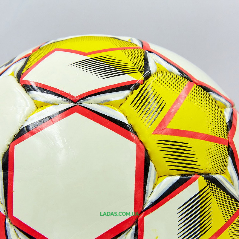Мяч для футзала №4 ламинированный ST MASTER (желто-белый, сшит вручную)
