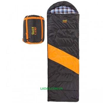 Спальник GreenCamp, одеяло, 450гр/м2, черно/оранжевый, подкладка Barberi, 230 х 75 см.