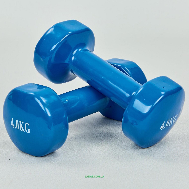 Гантели для фитнеса с виниловым покрытием (2x4кг)