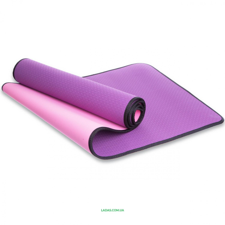 Коврик для фитнеса и йоги TPE 6мм с кантом SP-Planeta (1,83мx0,61мx6мм)