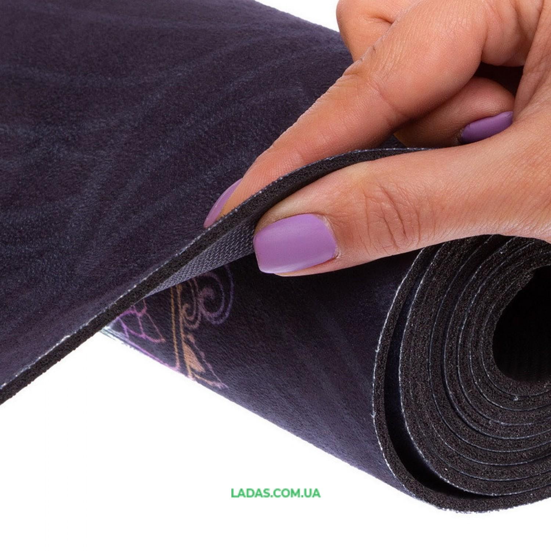 Коврик для йоги и фитнеса замшево-каучуковый двухслойный (1,83мx0,61мx3мм, черный)