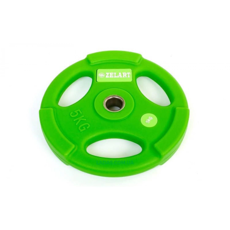 Блины (диски) полиуретановые с хватом и металлической втулкой d-28мм (1шт*5кг)(скидка за пару)