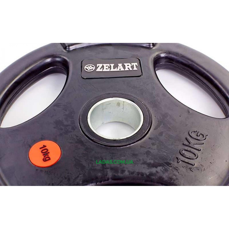 Блины (диски) обрезиненные с тройным хватом и метал. втулкой d-51мм (1шт*10 кг)