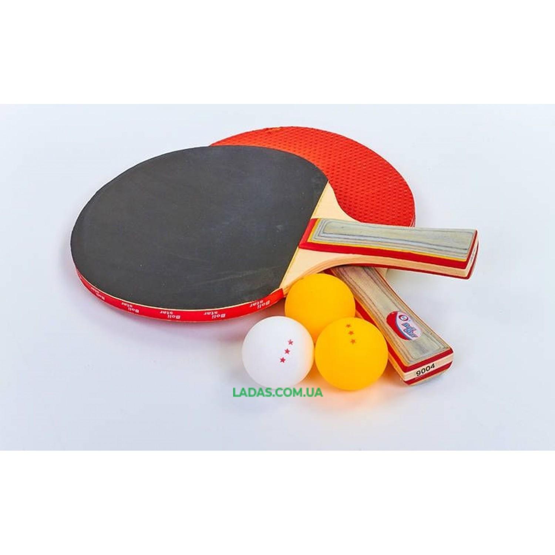 Набор для наст. тенниса Boli Star (2рак+3шар) MT-9004 (древесина, резина, пластик)*