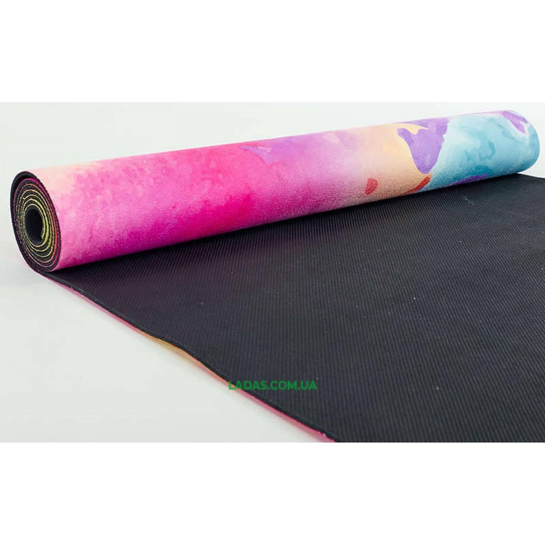 Коврик для йоги и фитнеса замшево-каучуковый двухслойный (1,83мx0,61мx3мм, Акварель)