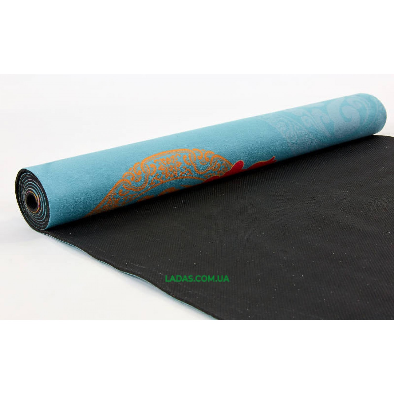Коврик для йоги и фитнеса замшево-каучуковый двухслойный (1,83мx0,61мx3мм, Цветок сакуры)