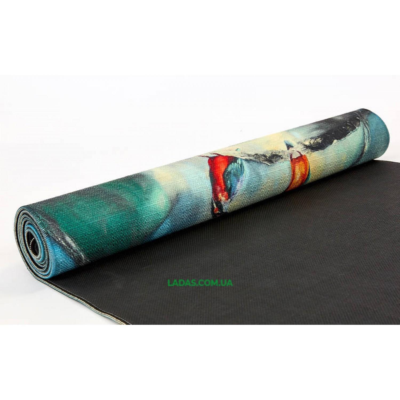 Коврик для йоги Джутовый (Yoga mat) двухслойный (1,83мx0,61мx3мм, лен, каучук)
