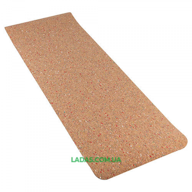 Коврик для йоги пробковый 2-х слойный цветной (1,83мx0,61мx4мм, пробковое дерево, TPE)