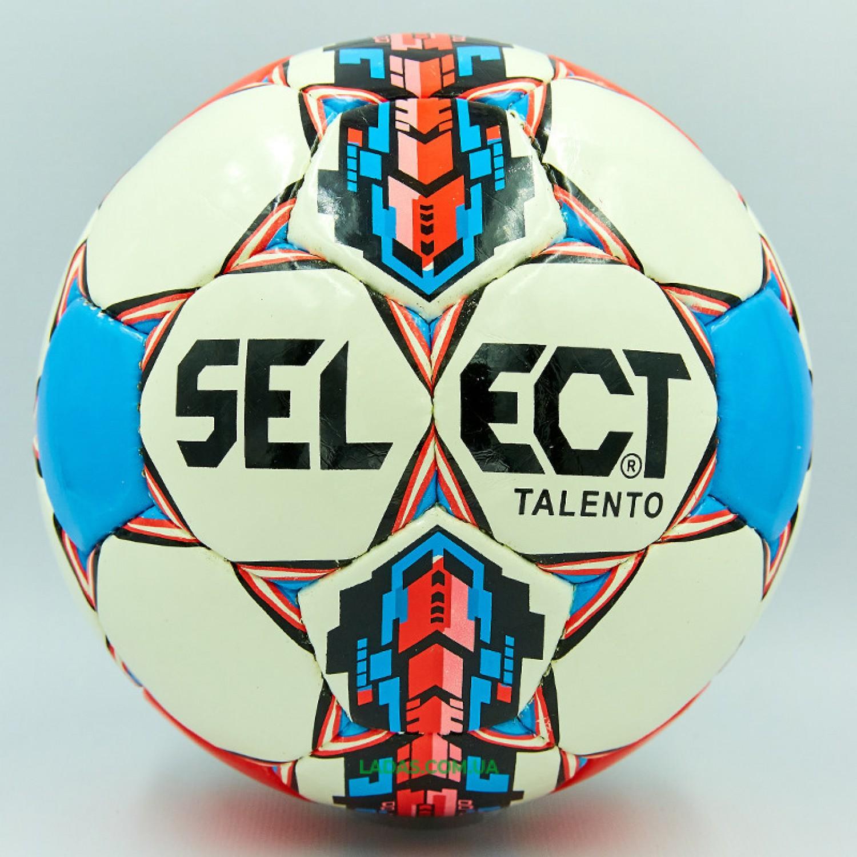 Мяч футбольный №4 PU ламинированный ST TALENTO (бело-синий, сшит вручную)