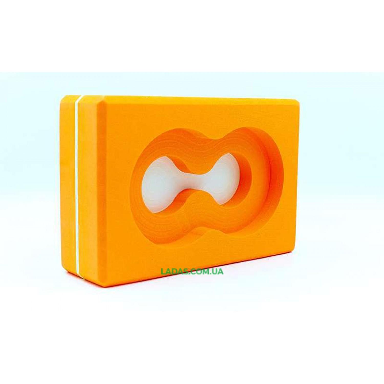 Блок для йоги (кирпич для йоги) с отверстием (EVA, р-р 23х15х7,5см)