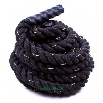 Канат для кроссфита черный Battle Rope (полипропилен, длина 15м, диаметр 3.8 см)