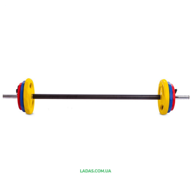 Штанга для фитнеса (фитнес памп) FI-0903 17,5кг (20кг, гриф l-1,3м, d-28мм)