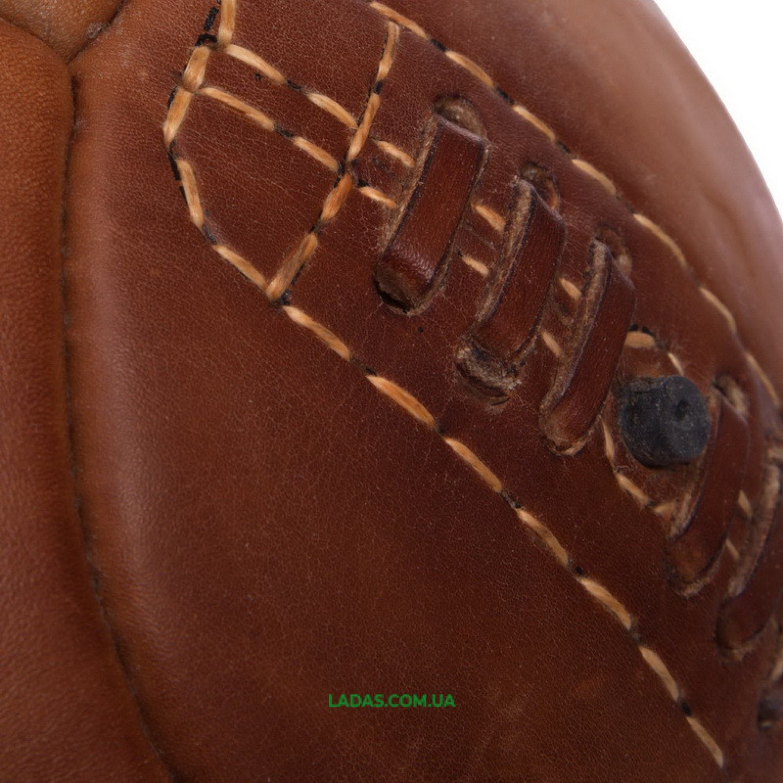 Мяч футбольный №5 Кожа VINTAG F-0252 (№5, 5сл., 14 панелей, сшит вручную, коричневый)