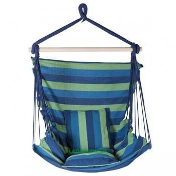 Гамак сидячий 312-3B (ширина 95 см, х/б, синий, 2 подушки)