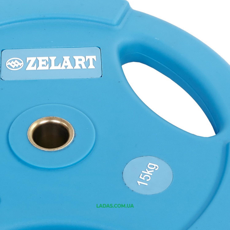 Блины (диски) полиуретановые с хватом и металлической втулкой d-28мм (1шт*15 кг)