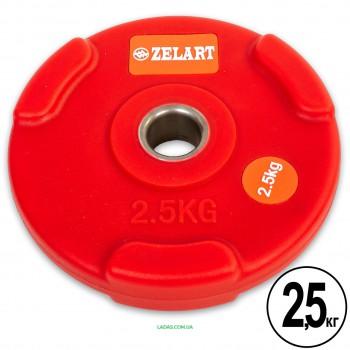 Блины (диски) полиуретановые с хватом и металлической втулкой d-28мм (1шт*2,5кг)