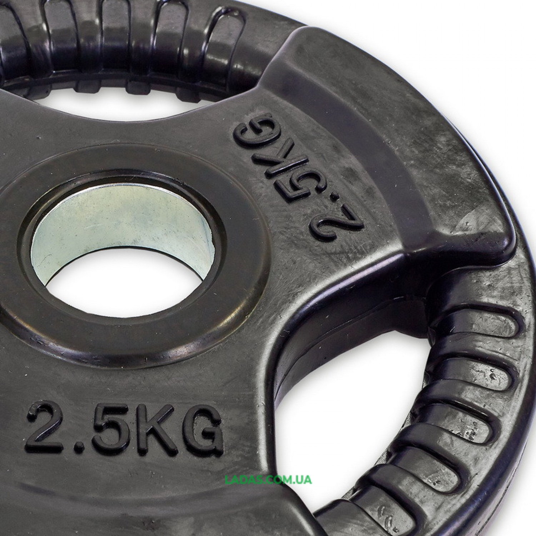 Блины (диски) обрезиненные с тройным хватом и метал. втулкой d-52мм (1шт*2,5 кг)