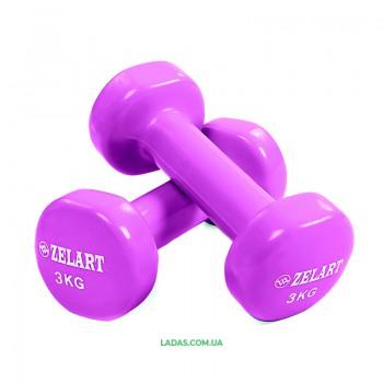 Гантели для фитнеса с виниловым покрытием Zelart (2x3кг)