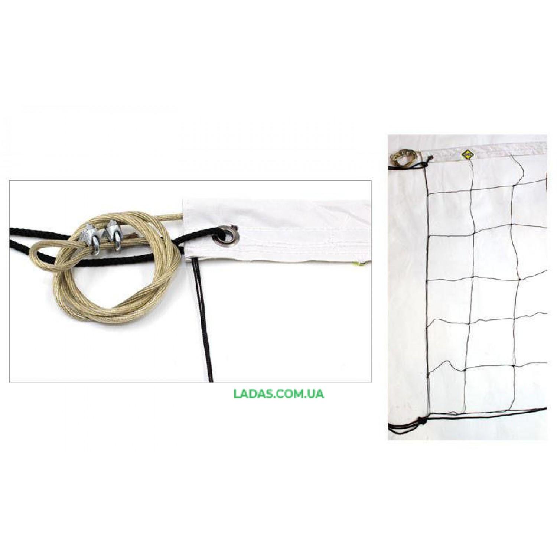 Сетка для волейбола Капрон15 UR (капрон 1,2мм, р-р 9x0,9м, ячейка 15x15см, с метал. тросом)
