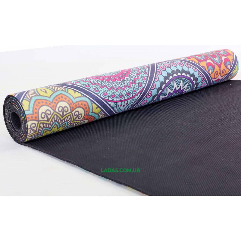 Коврик для йоги и фитнеса замшево-каучуковый двухслойный (1,83мx0,61мx3мм, Восточный калейдоскоп)
