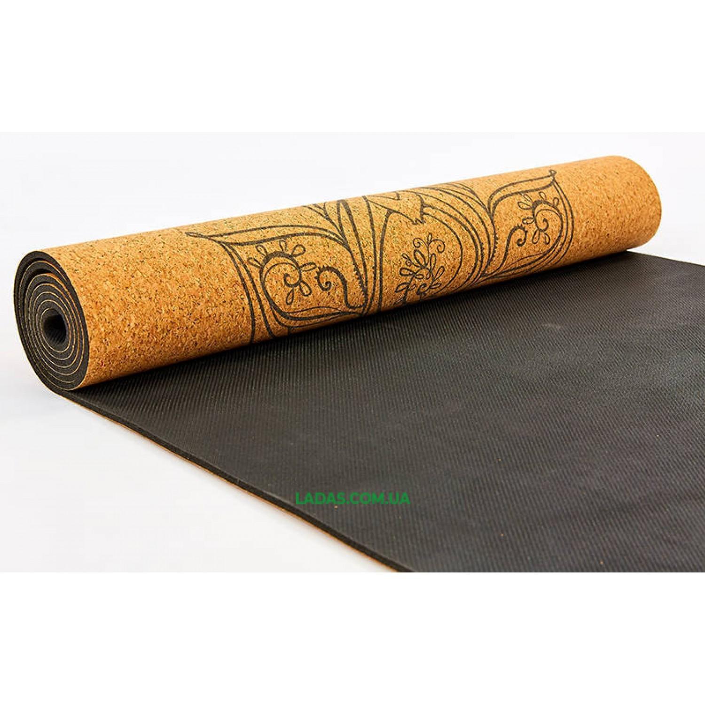 Коврик для йоги пробково-каучуковый двухслойный(1,83мx0,61мx4мм, с принтом Слон)