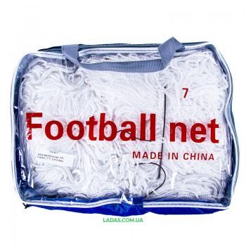 Сетка на ворота футбольные любительская узловая (2шт) (нить 3мм, ячейка 7x7см, р-р 5,5*2,44 м)