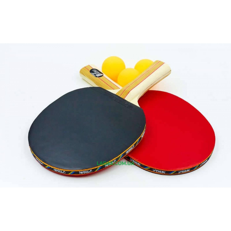 Набор для настольного тенниса 2 ракетки, 3 мяча STG FORCE( древесина, резина) Реплика