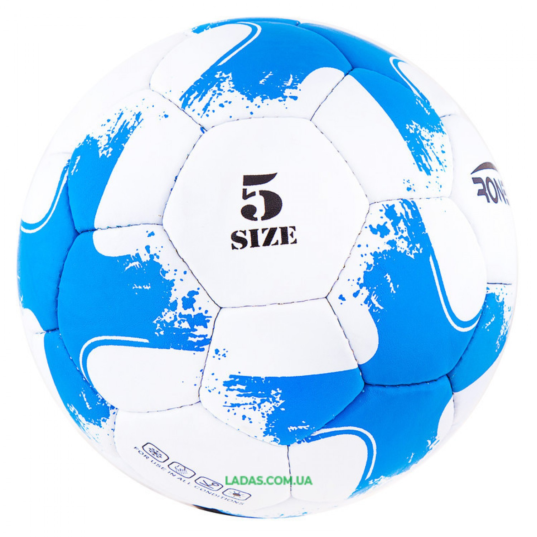 Мяч футбольный Grippy Ronex 2018-OMB (сшит вручную, бело-голубой)