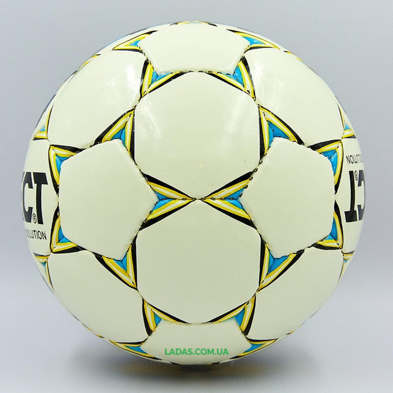 Мяч футбольный №4 PU ламин. ST EVOLUTION белый-синий-желтый (№4, 5 сл., сшит вручную)