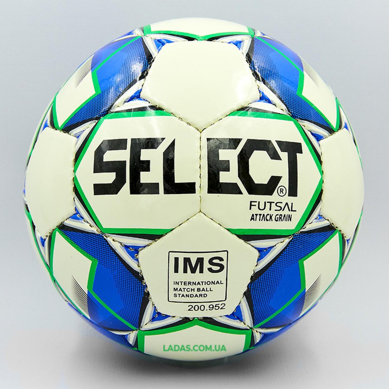 Мяч для футзала №4 ламинированный ST ATTACK (бело-синий, сшит вручную)