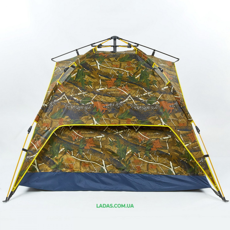 Палатка-автомат с автоматическим каркасом 4-местная (р-р 2х2х1,35м, 2 слоя, PL, камуфляж)