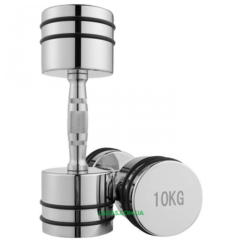 Гантели хромированные с резиновыми кольцами (2x10кг)
