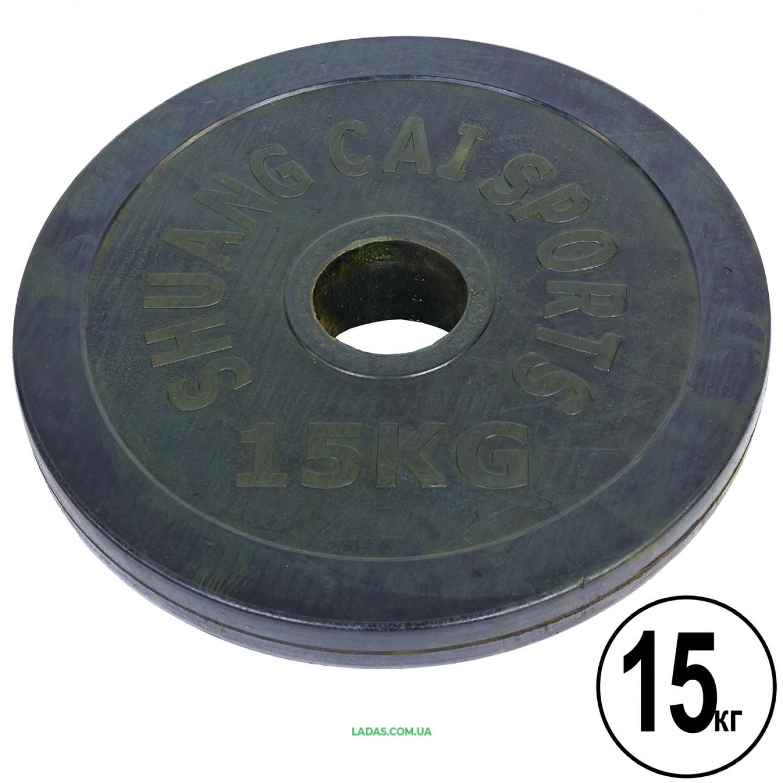 Блины (диски) 15кг обрезиненные d-52мм (1шт*15 кг)