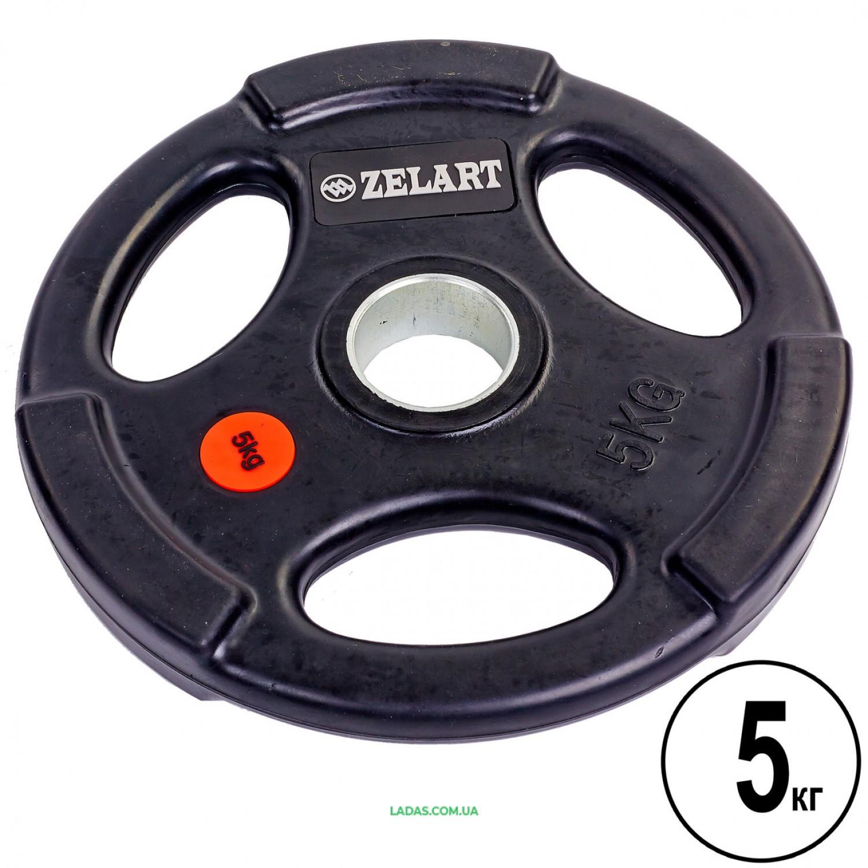 Блины (диски) обрезиненные с тройным хватом и метал. втулкой d-51мм (1шт*5 кг)
