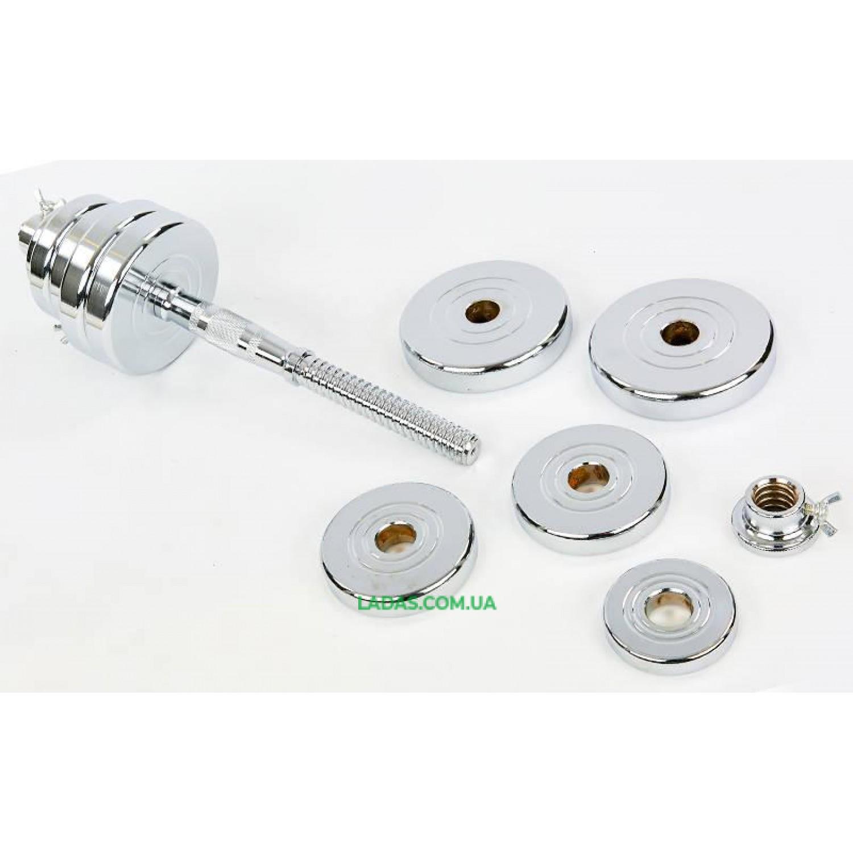 Гантели разборные (2шт) хромированные 35 кг (диски с резьбой, 2 грифа l-40см)