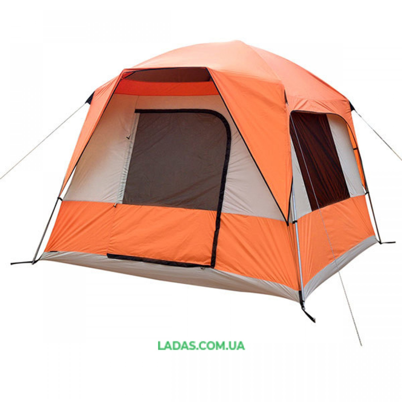 Палатка 4+1 местная GreenCamp GC10, автомат(р-р 300 х 270 х 180/205 см.,оранжевый)