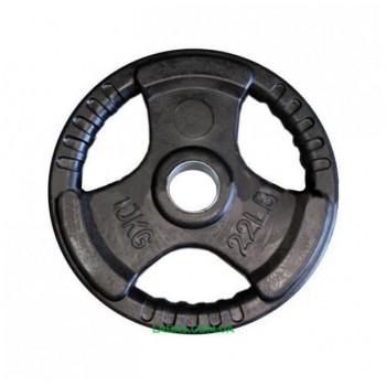 Блины (диски) обрезиненные с тройным хватом и металлической втулкой d-52мм(1шт*10кг)