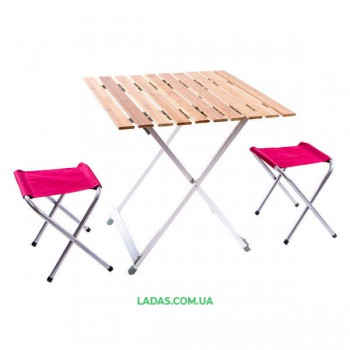 Стол туристический и 2 стула (дерево, 65*65*65 см)