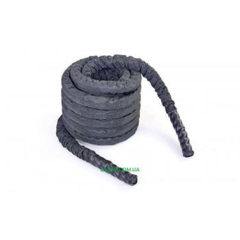 Канат для кроссфита в защитном рукаве BATTLE ROPE(полипропилен, l-12м,d-3,8см, черный)