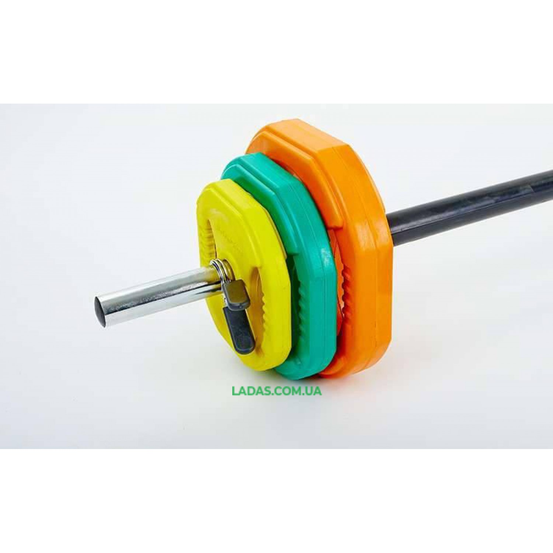 Штанга для фитнеса (фитнес памп) (20кг, гриф l-1,3м, d-25мм)