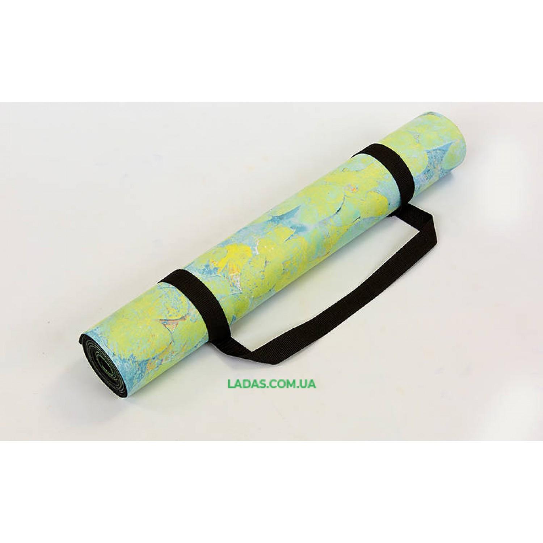Коврик для йоги и фитнеса замшево-каучуковый двухслойный (1,83мx0,61мx3мм, Белый лотос)