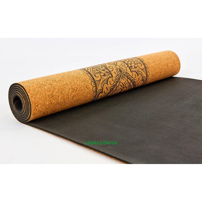 Коврик для йоги пробково-каучуковый двухслойный(1,83мx0,61мx4мм, с принтом Хамса)