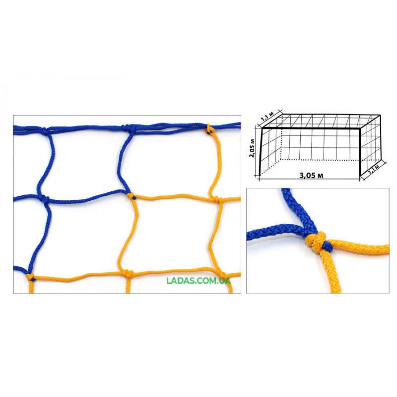 Сетка на ворота футзальная, гандбольная тренировочная (2шт) Стандарт1.1 UR (PP 3,5мм, ячейка 12см)
