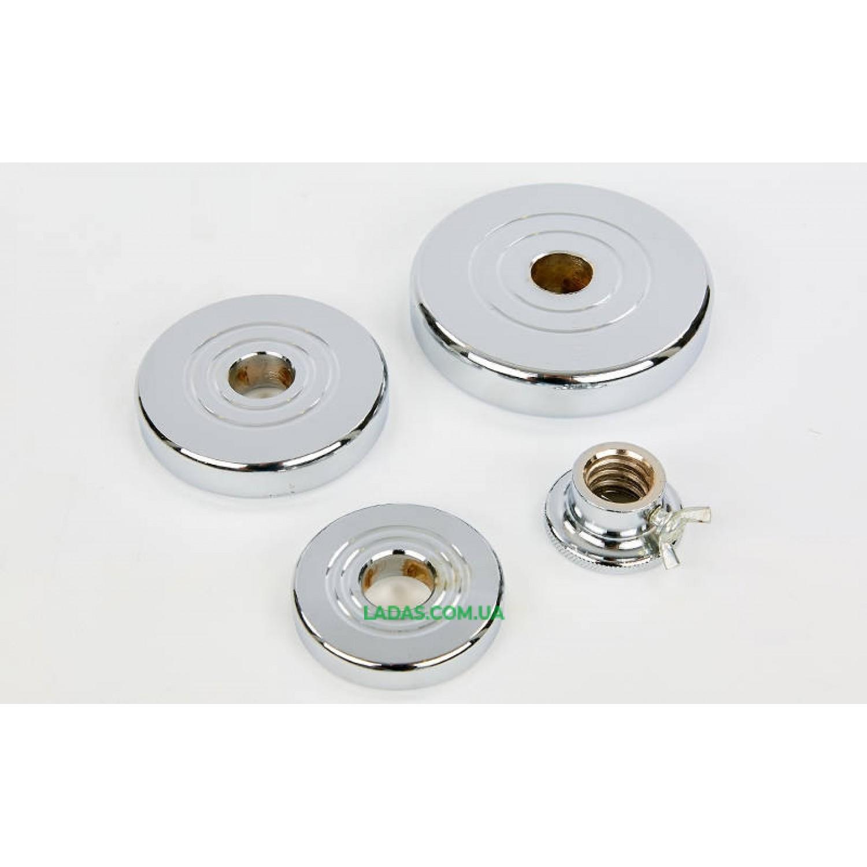 Гантели разборные (2шт) хромированные 20кг (диски с резьбой, 2 грифа l-35см)