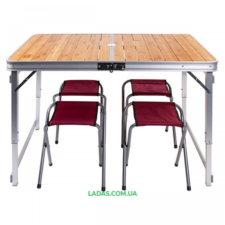 Стол туристический и 4 стула GreenCamp (дерево, 110*70*70/52 см)