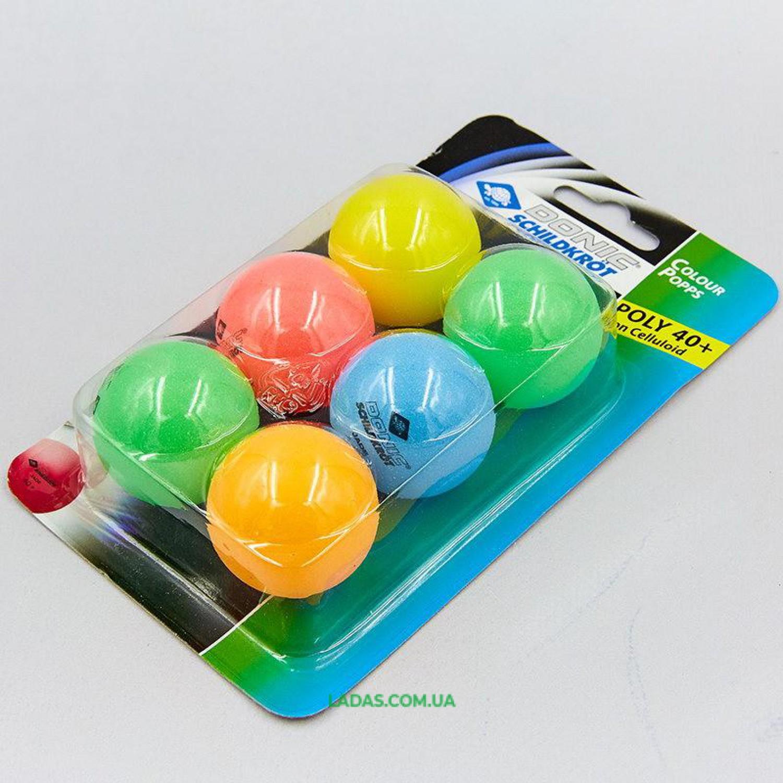 Набор мячей для настольного тенниса 6 штук DONIC MT-649015 COLOR POPPS