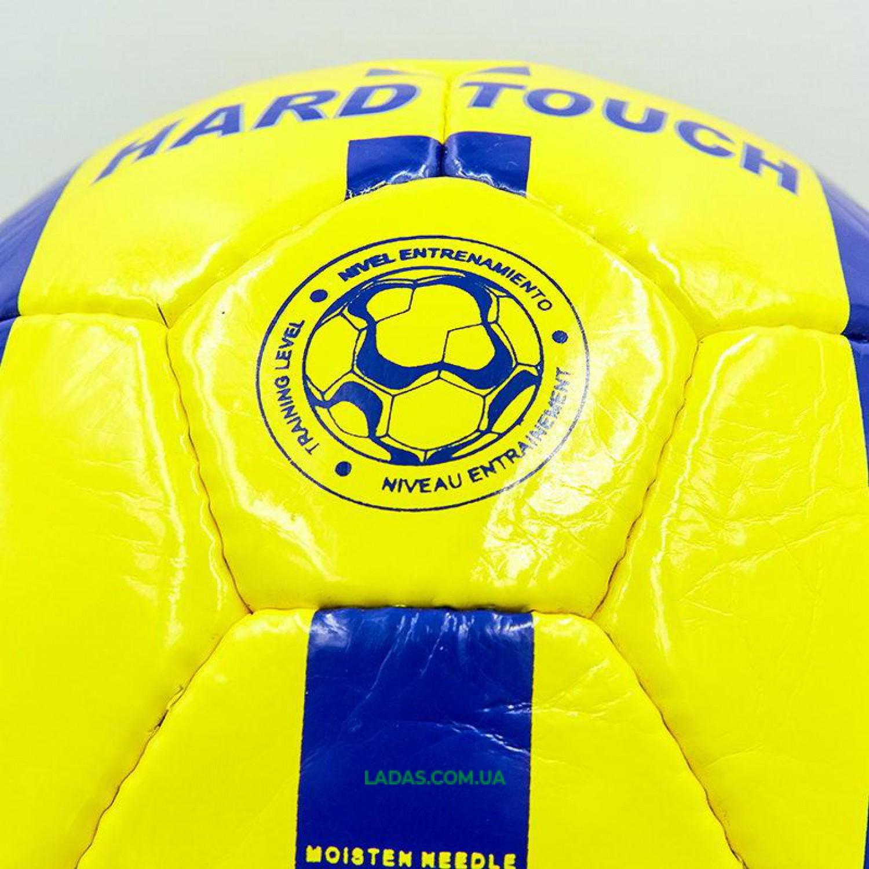 Мяч футбольный №4 PU ламинированный HARD TOUCH (сшит вручную, желто-синий)
