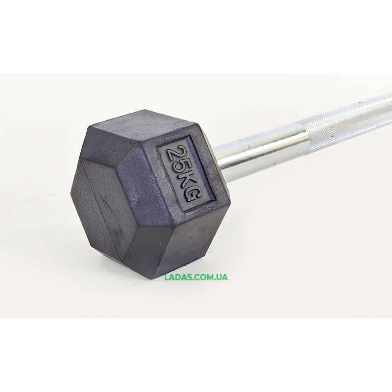 Штанга фиксированная прямая обрезиненная Rubber Hexagon Barbell 25 кг TA-6230-25