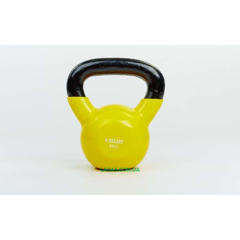Гиря чугунная с виниловым покрытием TA-5161-8 8кг (желтый)