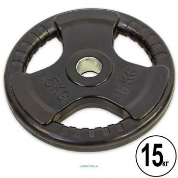 Блины (диски) обрезиненные с тройным хватом и металлической втулкой d-52мм(1шт*15кг)